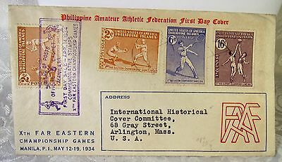 Philippines May 13, 1934 Registered FDC Cachet Cover to Arlington MASS