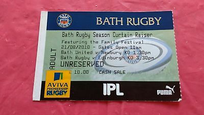 Bath v Edinburgh 2010 Used Rugby Ticket