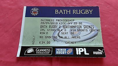 Bath v Northampton Saints 2010 Used Rugby Ticket