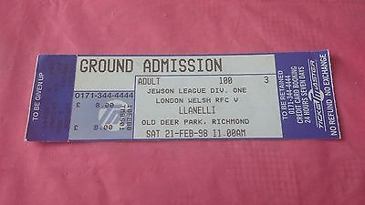 London Welsh v Llanelli 1998 Used Rugby Ticket