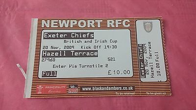 Newport Gwent Dragons v Exeter Chiefs 2009 Used Rugby Ticket
