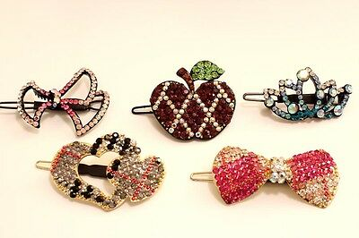 Wholesale Lot on 5 Pieces of Austrian Rhinestone Crystal Hair Barrette Clips