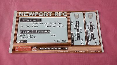 Newport Gwent Dragons v Leinster 2010 Used Rugby Ticket