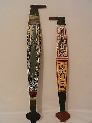 A collection of 2 Vintage/Antique Australian Aboriginal Dot painted Woomera