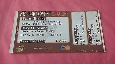 Newport Gwent Dragons v Sale Sharks 2009 Used Rugby Ticket