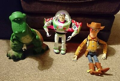 Toy Story toys- Buzz, pull string Woody and roaring Rex