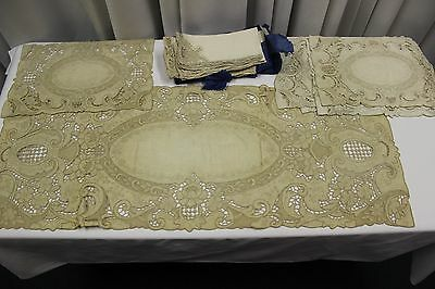 Antique POINT DE VENISE LACE Table Runner 12  Napkins 6 Placemats