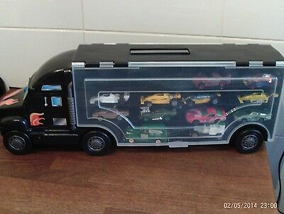 Truck Lorry Transporter - Carry Case For Cars With 12  Vehicles   Free P&p