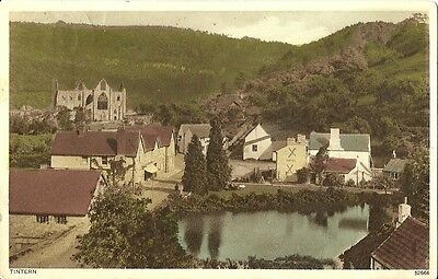 Tintern View Of Village And Abbey 1934 Photochrom Postcard