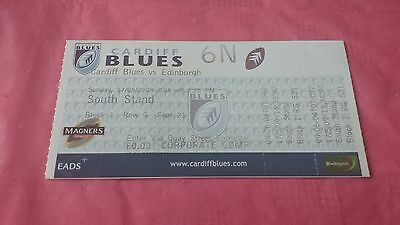 Cardiff Blues v Edinburgh 2009 Used Rugby Ticket