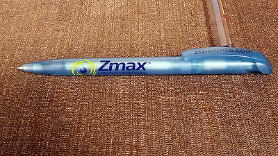 Medical pen for the drug, Zmax.  Sky blue translucent pen with Zmax graphics.