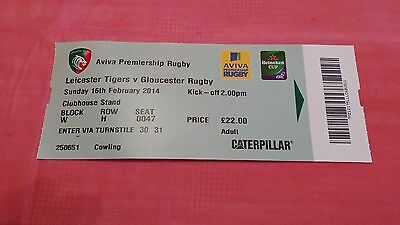 Leicester v Gloucester 2014 Used Rugby Ticket