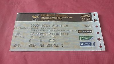 London Wasps v Northampton Saints 2005 Used Rugby Ticket