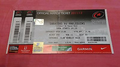 Saracens v Harlequins 2012 Used Rugby Ticket