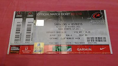 Saracens v Ospreys 2011 Used Rugby Ticket