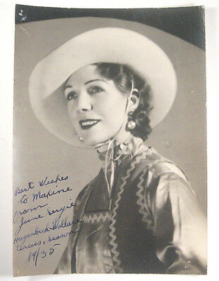 1935 Signed Photograph of Cowgirl June Sergie of Hagenbeck Wallace Circus