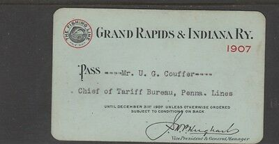 1907 GRAND RAPIDS & INDIANA Ry - PASS