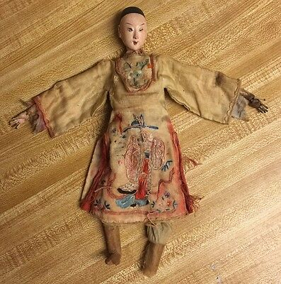 Antique Chinese Man Wood And Composition TLC