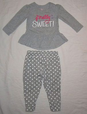 Infant Baby Girls CHILDRENS PLACE Tunic Shirt & Heart Pants Outfit 18-24 months
