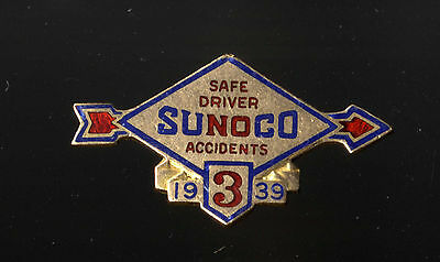 Vintage 1939 Sunoco 3 Years Safe Driving Pin