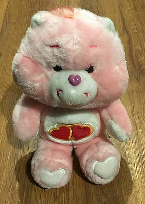 "CARE BEAR VINTAGE LOVE A LOT CARE BEAR 13"" SOFT TOY 1980's VGC"