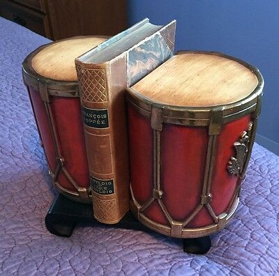Vintage Drum Book Ends -Heavy And Handsome