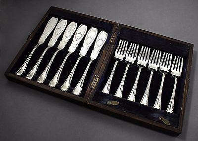 Antique silver plate 6 person bright-cut neoclassical fish cutlery set boxed