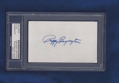 Pappy Boyington WWII US Flying Ace Autographed 3x5 Card PSA SLABBED dec 1988