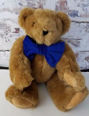 """Vermont Teddy Bear Company Brown Bear 15"""" Jointed Plush Stuffed Blue Bow"""