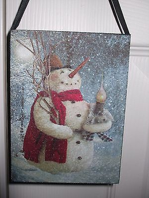 Country Christmas WOODLAND SNOWMAN Lighted Candle Picture Canvas Wall Mini