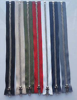 Ykk Brand Metal Silver Teeth Open Ended Zip (Choice Of Length & Colour) Free P&P