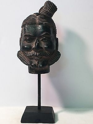 Vintage BUDDHA Head Carving Sculpture on Stand Thai Religious