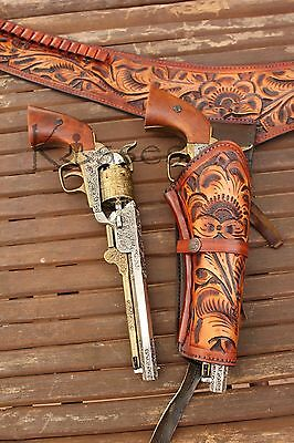 "NEW 44/45 Cal Tooled Holster Gun Belt Drop Loop LEATHER Western RIG SASS 34""-52"""