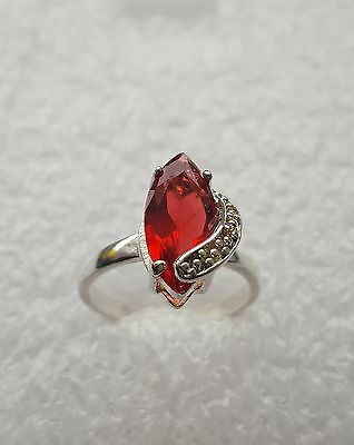925 Sterling Silver Ruby Gemstone Ring Beautiful Ring Size P