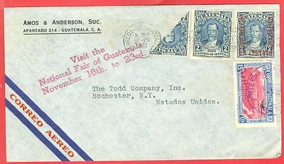 Guatemala Bisect used on cover with VISIT NATIONAL FAIR Slogan to USA 1941
