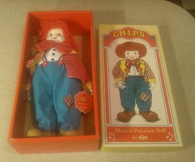 Vintage Chips The Musical Porcelain Clown Circus Doll In Original Box By Russ