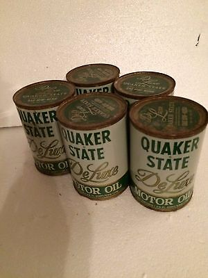 Vintage Quaker State Deluxe Motor Oil 5 Cans Still Unopened