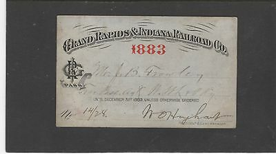 1883 Grand Rapids & Indiana Railroad - Pass