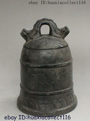 Ancient Chinese Buddhism Temple Pure Bronze Carved Dragon Head Statue Bell