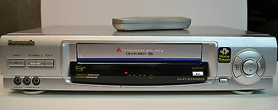 Panasonic Omnivision PV-V4621 VHS VCR with Remote, nice brushed aluminum look