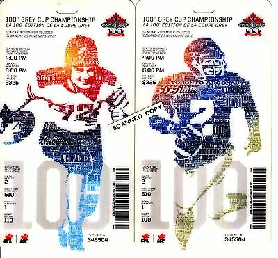 100th Grey Cup Souvenir Plastic Game Ticket. 2002
