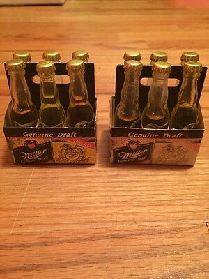 Lot Of 2  Miller Genuine Draft Mini Beer Bottles Six Pack With Paper Carrier