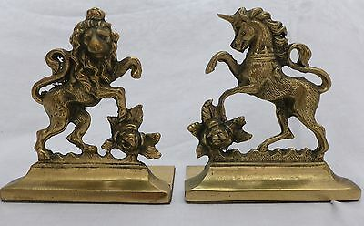 Coat of Arms LION and UNICORN BRASS BOOKENDS Circa 1900  height 15 cms SUPERB.