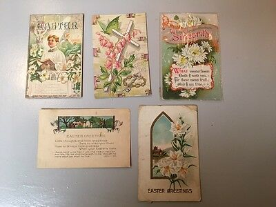 Lot of 2 Vintage Antique Easter Holiday Postcards Christian Cross Lilies Lot #1