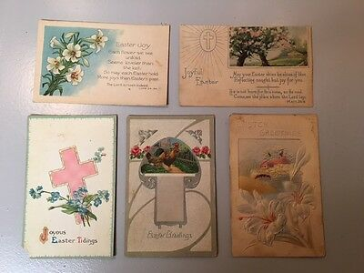 Lot of 2 Vintage Antique Easter Holiday Postcards Christian Cross Lilies Lot #2