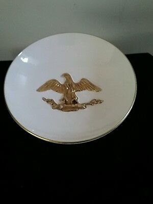 Rare footed Centerpiece pedestal bowl white with brass eagle made in Italy