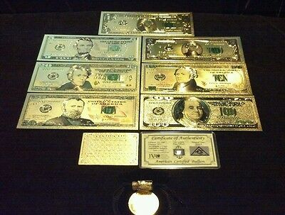 NEW-11Pc.LOT$1,2,5,10,20,50,$100 BANKNOTE REPS.*W/COA+CLAD COIN/FLAKE&SILVER BAR