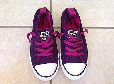 "CONVERSE ""Shoreline"" Girls Purple/Pink Canvas Fashion Sneakers Size 2.5 (NWOB)"