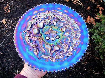 WOW!!! Antique ELEC BLUE NORTHWOOD IRIDESCENT THREE FRUITS Carnival Glass PLATE