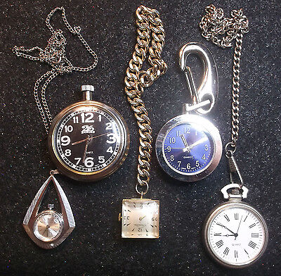 Vintage Steampunk Lot POCKET WATCHES Pendant & Necklace Chains Parts or Repair